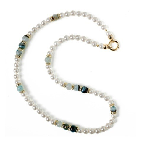 NECKLACE 3750 LONG - PEARLS OF MOTHER OF PEARL AND AGATE STONE