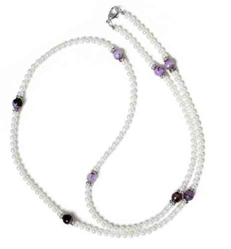 NECKLACE 3755 LONG - PEARLS OF MOTHER OF PEARL AND NATURAL VIOLET AGATE