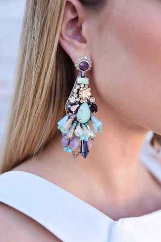 EARRING 1695 TURQUOISE AND PURPLE