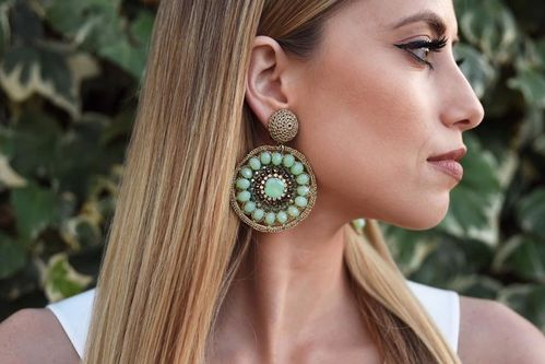 EARRING 1546 GREEN CLIP