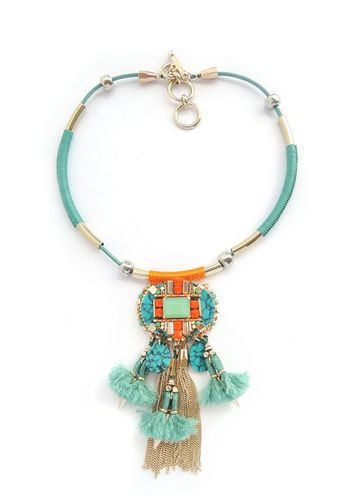NECKLACE 3064 TURQUOISE AND ORANGE