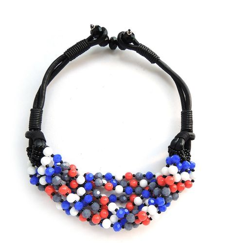 NECKLACE 3346 BLUE, RED AND WHITE