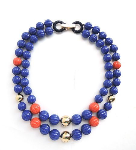 NECKLACE 2353 BLUE AND RED