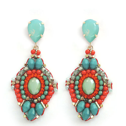 EARRING 2064 ORANGE+TURQUOISE