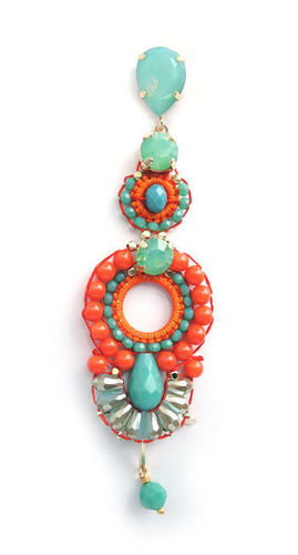 EARRING 2099 ORANGE+TURQUOISE