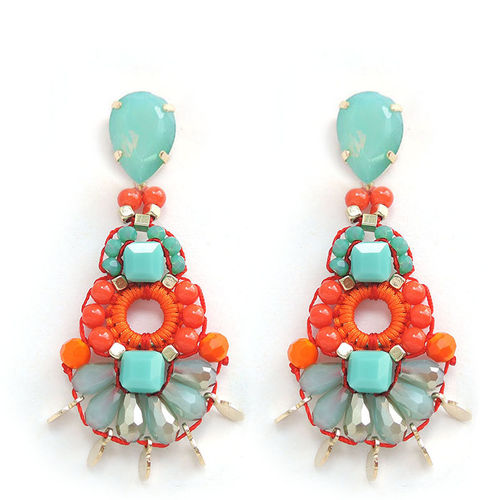 EARRING 2088 ORANGE+TURQUOISE