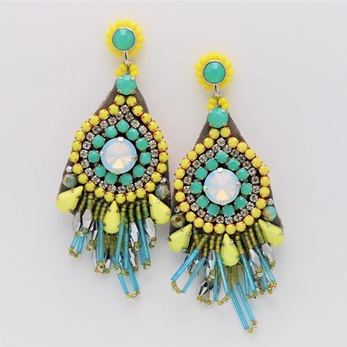 EARRING 1566 YELLOW AND AQUA