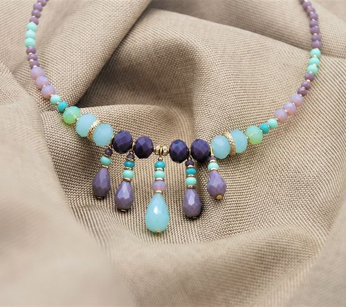 NECKLACE 4325 PURPLE AND TURQUOISE